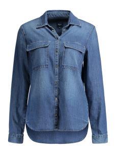 Camicia jeans diritta bottoni a pressione