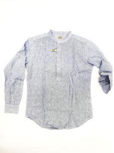 Camicia coreana misto lino a righe IMPURE