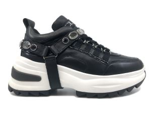 CULT 104005 YOUNG LOW 2986 SNEAKER DONNA NERA CON ACCESSORIO