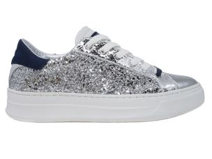 CRIME LONDON 25500 SONIK SNEAKER DONNA IN GLITTER ARGENTO