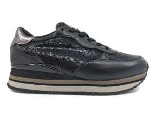 CRIME LONDON 25522 SNEAKER RUNNING DONNA IN PELLE NERA