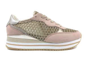 CRIME LONDON 25553 SNEAKER DONNA ROSA CON TESSUTO ORO