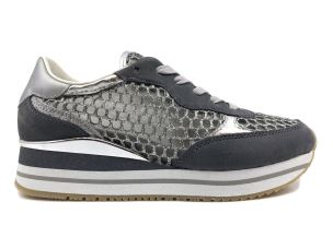 CRIME LONDON 25555 SNEAKER DONNA ARGENTO IN TESSUTO