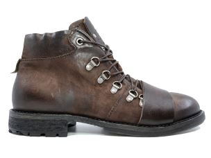 A.S. 98 330207 STIVALETTO UOMO IN PELLE MARRONE