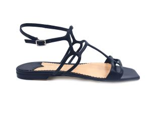 THE SELLER 7599 SANDALO DONNA BASSO IN PELLE NERO