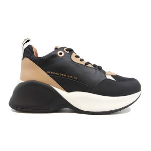 ALEXANDER SMITH SC97696 SNEAKER DONNA IN PELLE NERA E NUDE