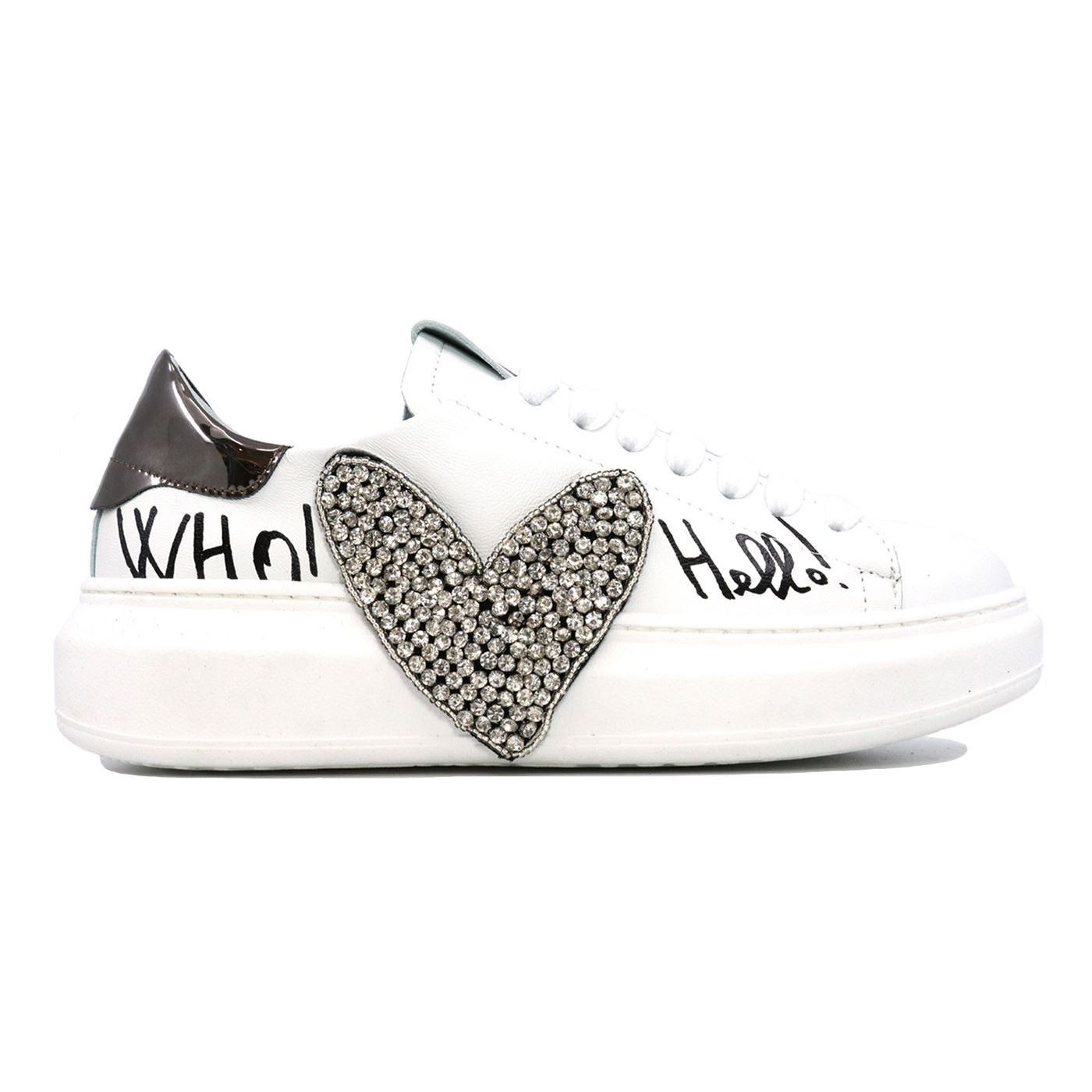 GIO+ G10C COMBI CRYSTAL SNEAKER DONNA IN PELLE BIANCA STRASS