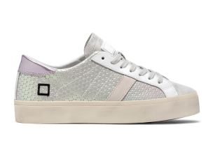 D.A.T.E. HD-PX-WH SNEAKERS DONNA IN PELLE SATINATA ARGENTO