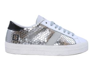 D.A.T.E. HL-PG-SL SNEAKERS DONNA IN PELLE BIANCA E ARGENTO
