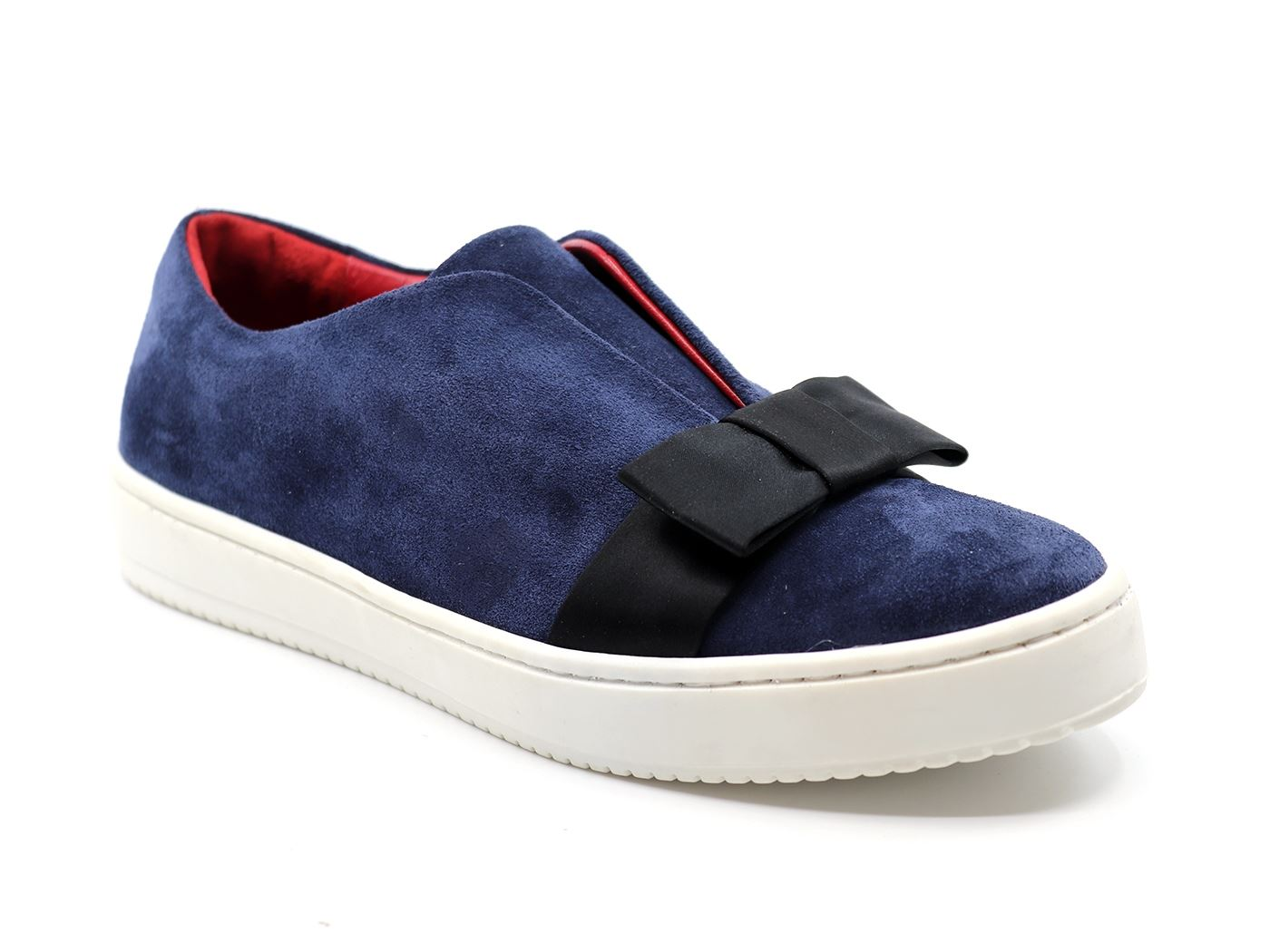Aurora Scamosciata Pelle In Sneaker Fiocco Donna Mainapps Blu rWwqYraF