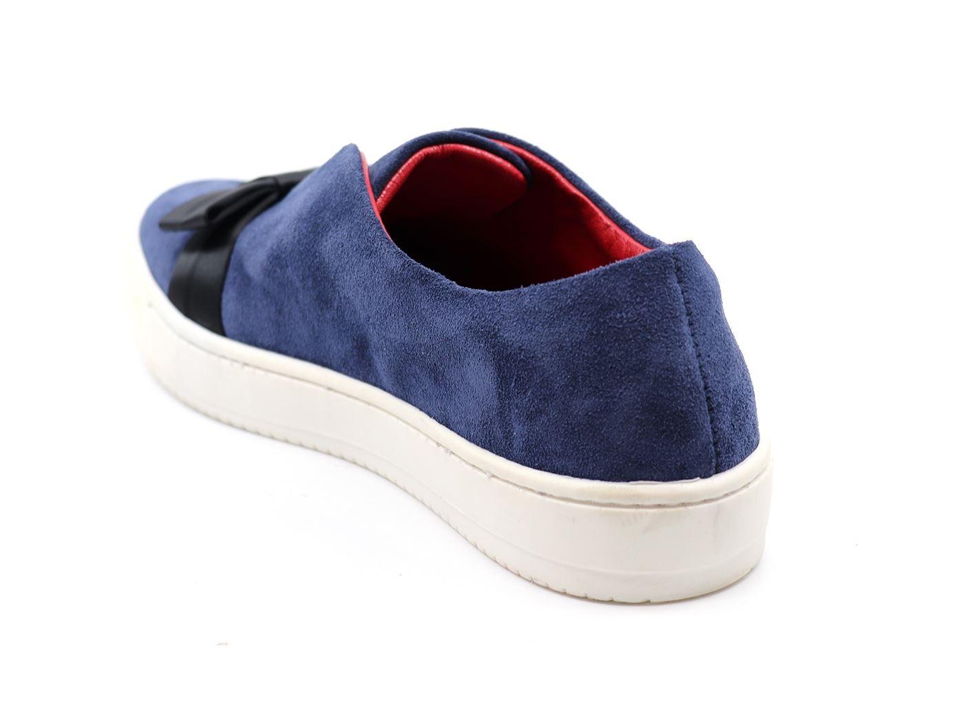 In Scamosciata Pelle Fiocco Donna Blu Sneaker Aurora Mainapps aWcpUfyqq