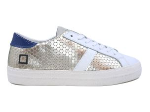 D.A.T.E. HL-PG-PL SNEAKERS DONNA IN PELLE BIANCA E PLATINO