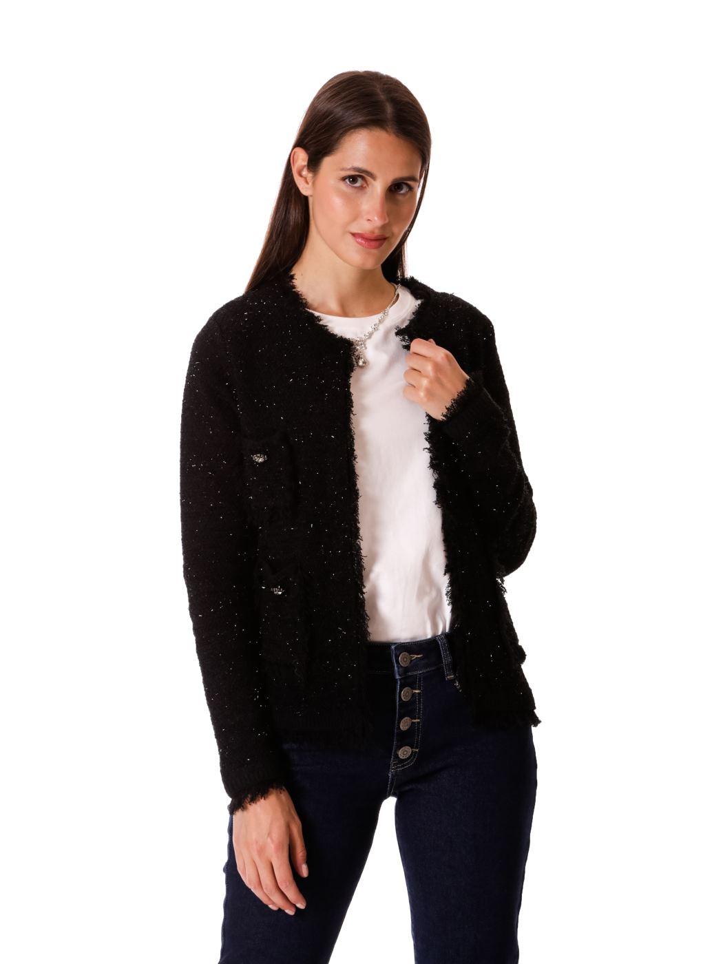 Giacchina stile Chanel a maglia con lurex
