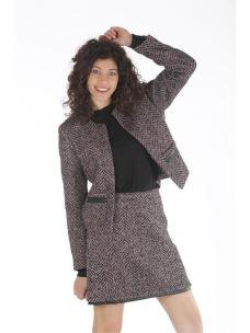 Giacca tweed e pelle