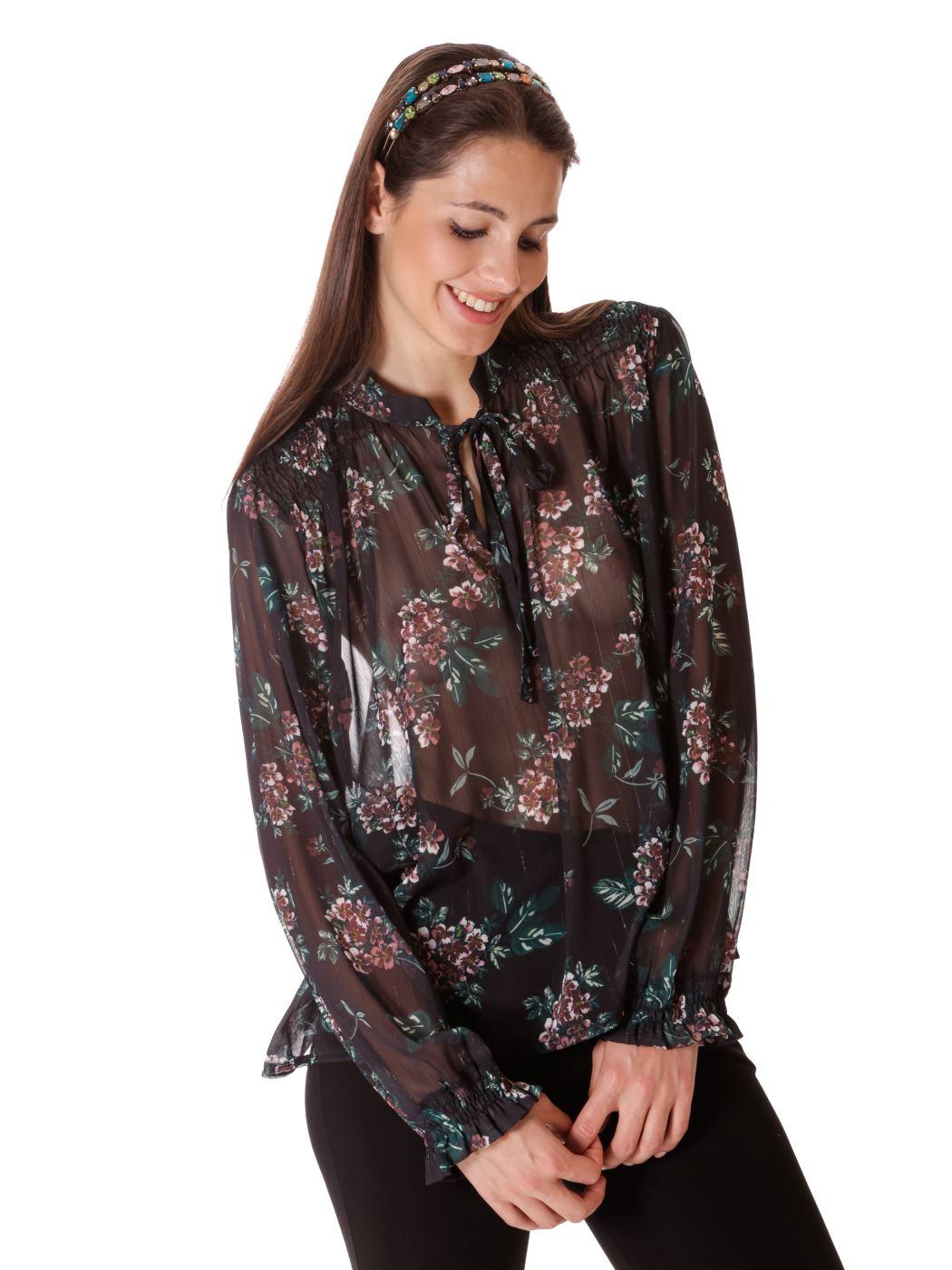 Blusa stampa floreale lurex