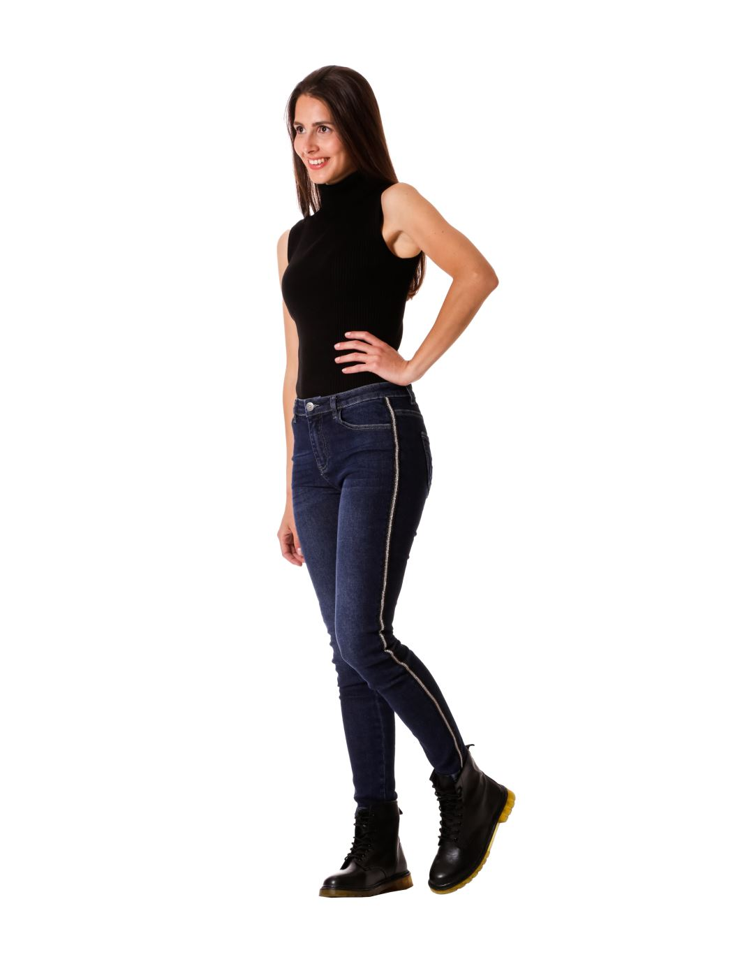 jeans skynny con hotfix laterale