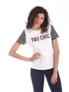 "T-shirt applicazioni tweed ""Too chic"""