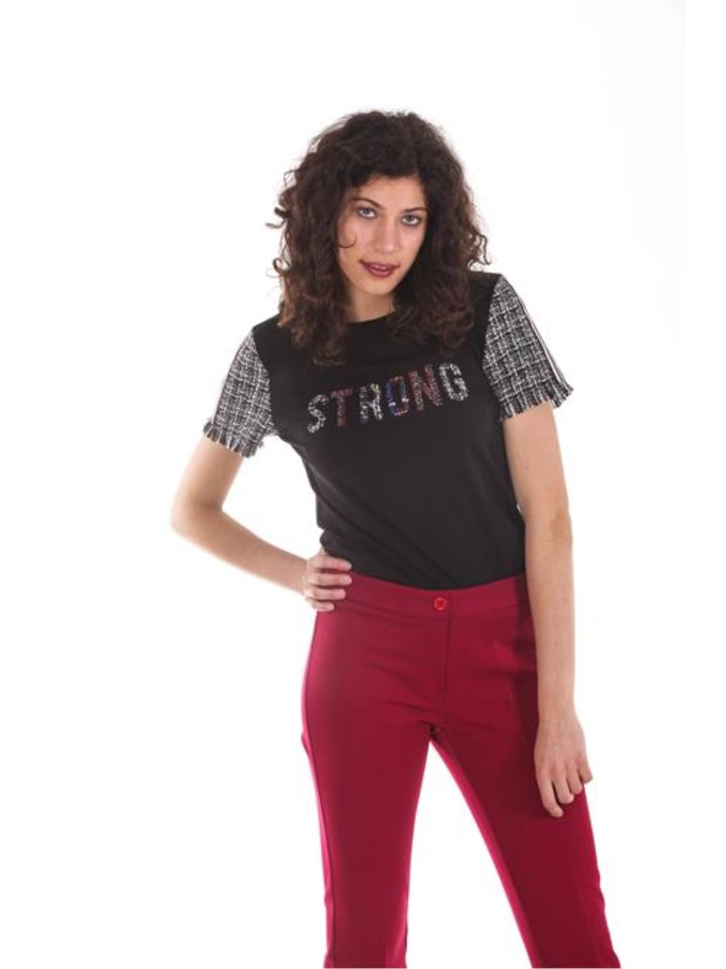 """T-shirt applicazioni tweed """"strong"""""""
