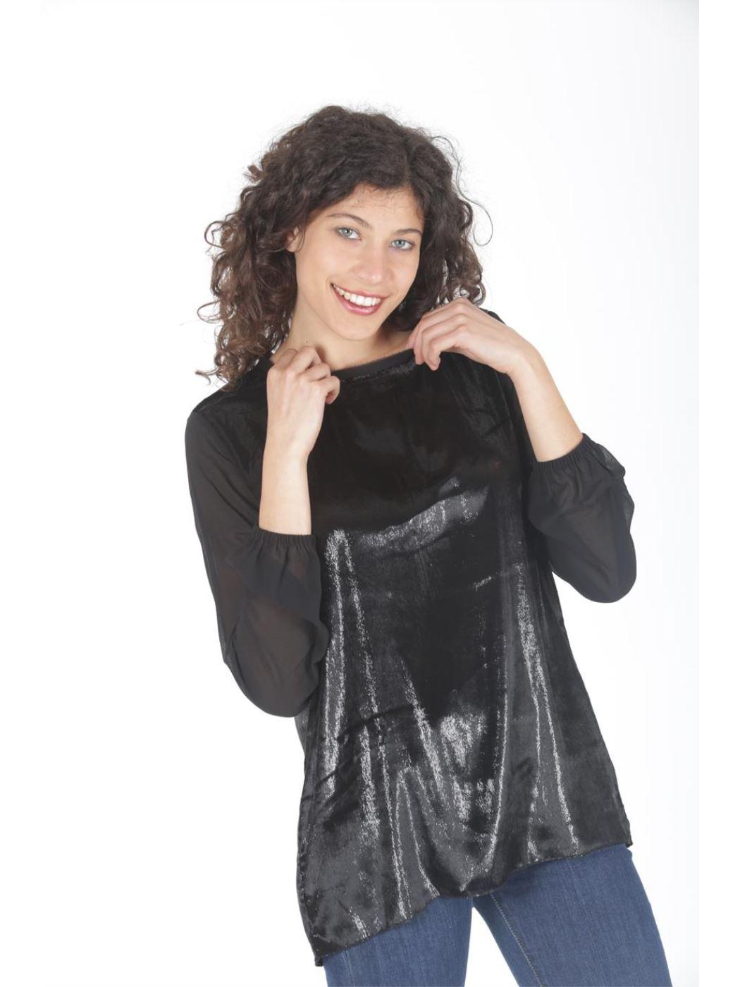 Casacca con manica in georgette velluto