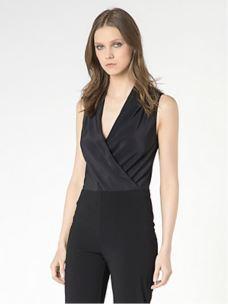 PATRIZIA PEPE Camicia body nero in crêpe de chine 2C0901AV35-1