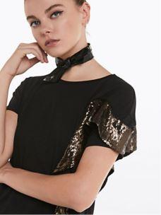 PATRIZIA PEPE -T-shirt in cotone con paillettes- 8J0922A5H6