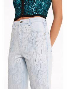 PATRIZIA PEPE jeans vita alta con strass 8J0929A752