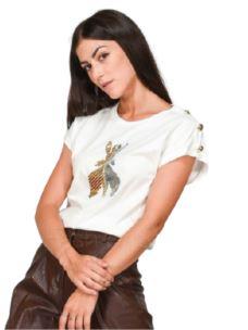 PATRIZIA PEPE T-Shirt con logo FLY sul davanti  8M1055A7K9