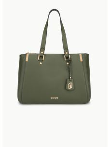 LIUJO Double zip satchel color verde militare AA0012E0087-1