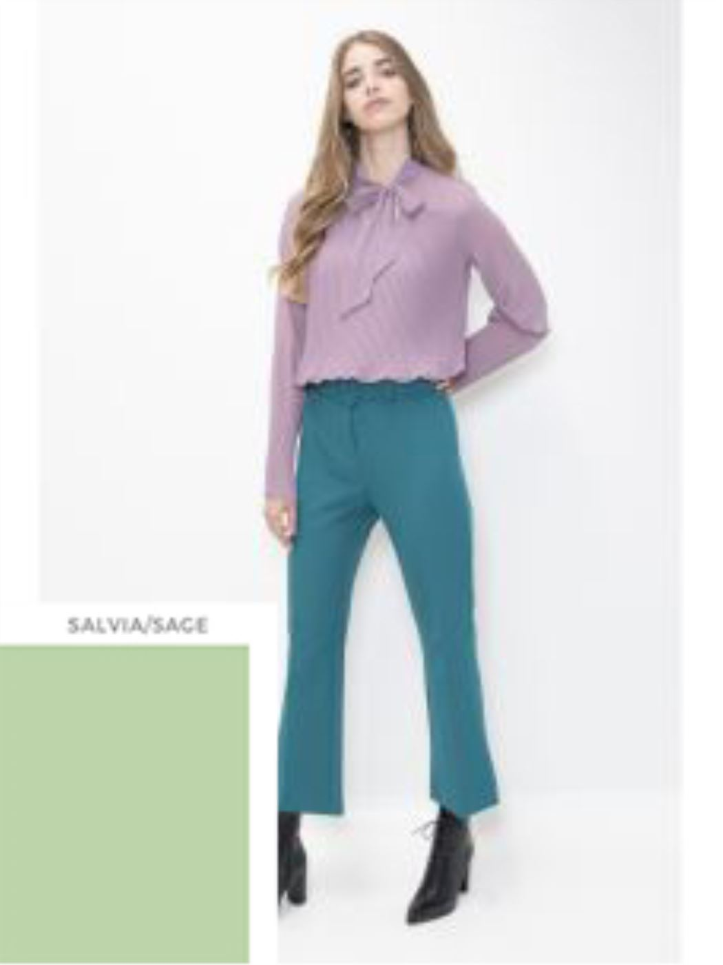 KONTATTO -Camicia plissè con manica lunga salvia- GI606I20GI332