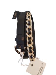 SILVIAN HEACH Cintura sottile nera con catena RCP20112CI-2