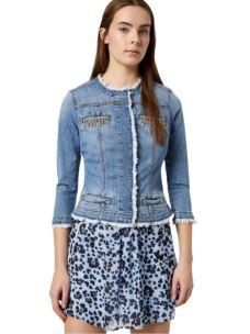 LIU JO Giacca di jeans con castoni gioiello UA0033D3106