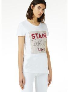 Liujo t-shirt con lettering in strass - W19245J5003