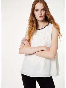 Liujo top bianco con applicazioni gioiello  W69054T5614