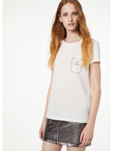 Liujo t-shirt con taschino di strass W69239J5744-