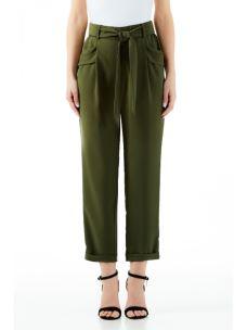 LIU JO Pantalone verde mil. a vita alta con cinta WA0061T5809-1