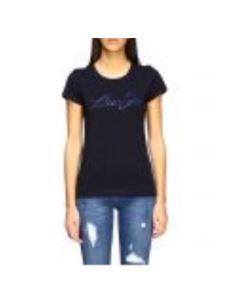 tshirt maniche corte nera  logo LIUJO swarosky blu WA0427J5703-3