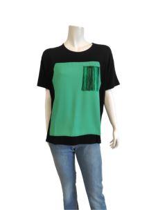 T-Shirt Donna con Taschino e Frange 31095