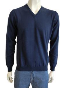 Maglia Uomo Scollo V Pullover Cotone Cashmere H756V