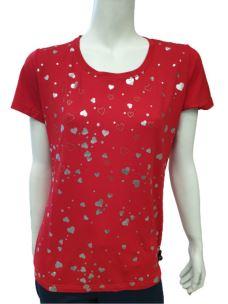 T-Shirt Donna Maglia Donna Girocollo Con Stampa Cuori T602
