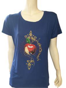 T-Shirt Donna Maglia Girocollo Manica Corta Con Stampa T619